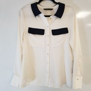 ZARA BASIC BUTTON DOWN WITH BACK PLEAT AND COLLAR